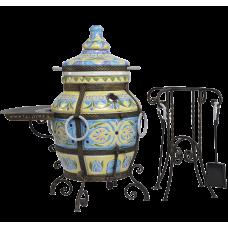 Тандыр Голубая Лилия Голубой с узором и столиком Со столиком