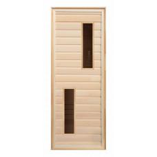 Дверь липа с 2-мя стеклами (коробка хвоя) 1900х700
